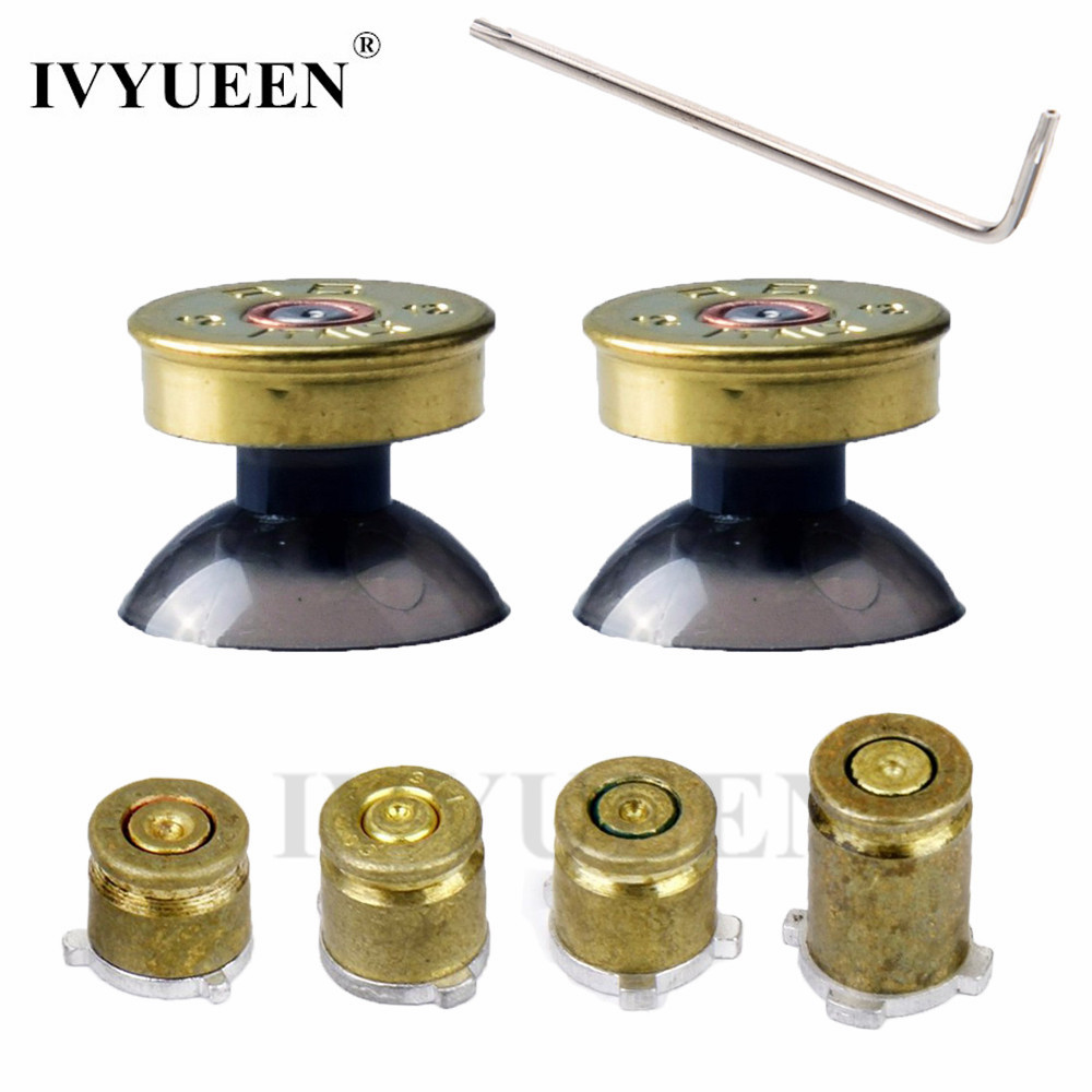 IVYUEEN For Xbox One X S ( Slim ) Elite Controller Gold Bullet Button Thumbsticks Stick Cap and 9mm Brass Buttons ABXY Mod Kit 3cleader® metal thumbsticks thumbgrips and bullet abxy