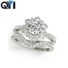 QYI Simulated Diamond Halo Ring Sets Single Row Band Round Cut Sona Bridal Jewelry 925 Sterling Silver Wedding Engagement Ring