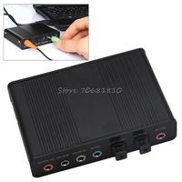 USB 5,1 канала Внешний Оптический Аудио волокно Звуковая карта S/PDIF для портативных ПК Прямая доставка