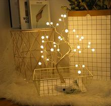 HobbyLane 36 LED Copper Wire Pearl Tree Shape Desk Decoration Light Holiday Party Night Light