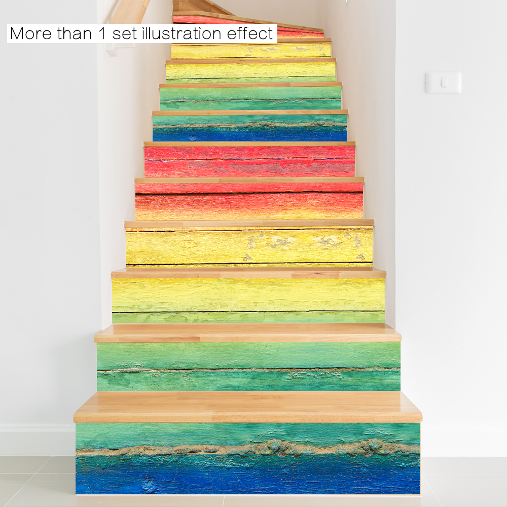 3D Hot Selling DIY Steps Sticker Colorful Wood Grain Stairs Decals ...