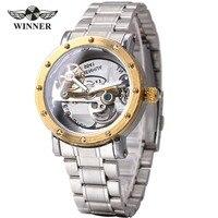 WINNER Auto Mechanical Watches Men Golden Bridge Top Brand Luxury Silver Stainless Steel Strap Skeleton Watch