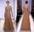 New  2016 Sexy Formal Evening Dresses Long Sleeves Bateau Gold Tulle Crystals Beading Backless Pageant Dresses CE421