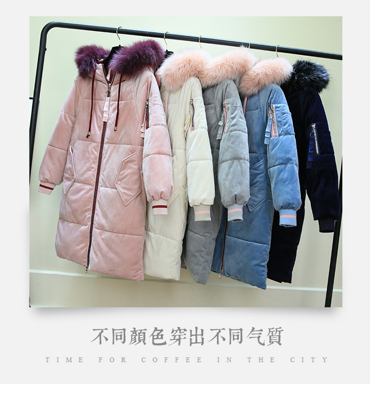 Winter Hooded Velve   Parka   Womens Thickening Outerwear Slim Down Cotton Coat Female 2019 New Long Fur Collar Winter Jacket Women