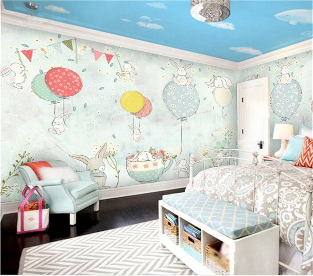 Beibehang Custom Wallpaper 3d Nordic Simple Fashion Simple And Elegant Balloon Bunny Children Room Background 3d Papel De Parede