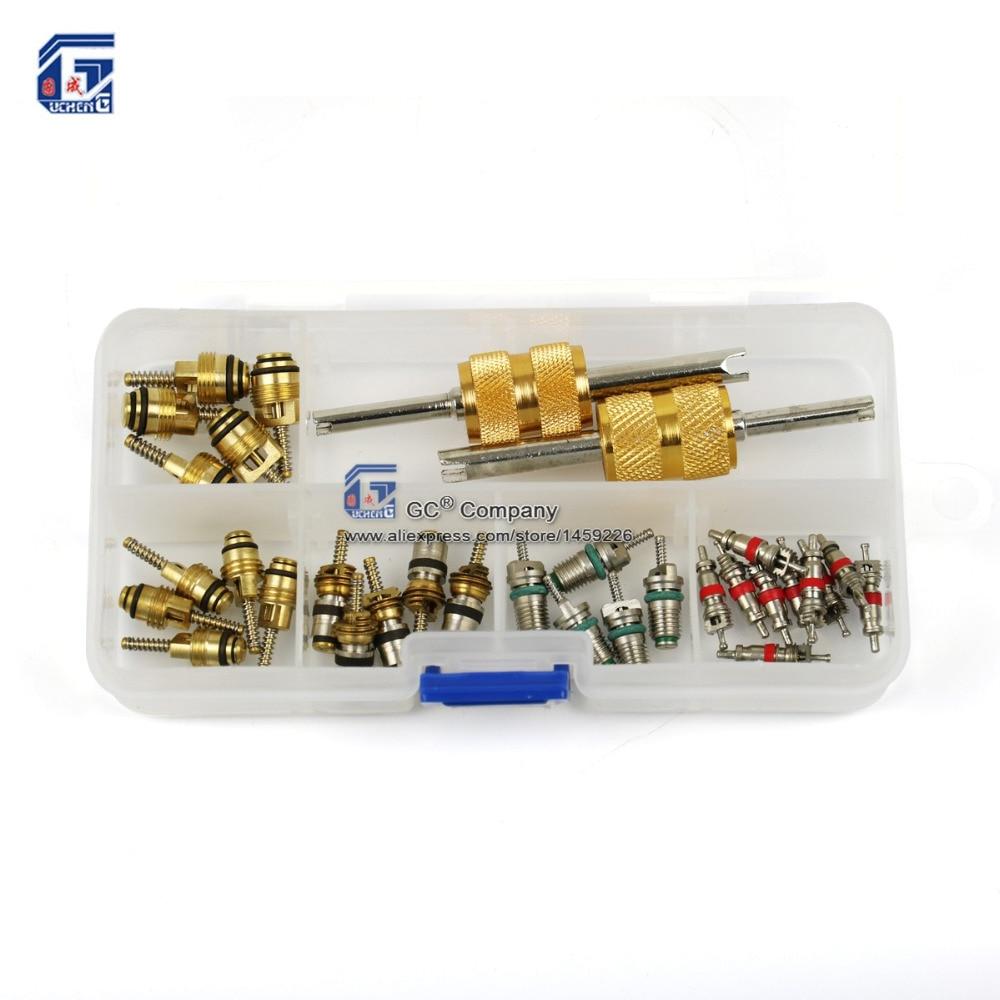 Centro di valvola con 2 Vie Remover Tool Kit Set per Regal, Beverly, Volkswagen, Toyota, Honda, Elantra, R134a R12