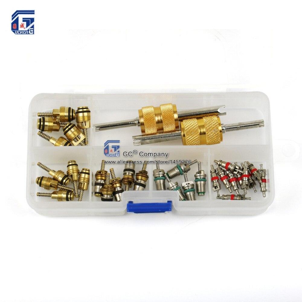 Rdzeń zaworu z 2 Way narzędzie do usuwania zestawy zestaw dla Regal, Beverly, Volkswagen, Toyota, Honda, Elantra, R134a R12
