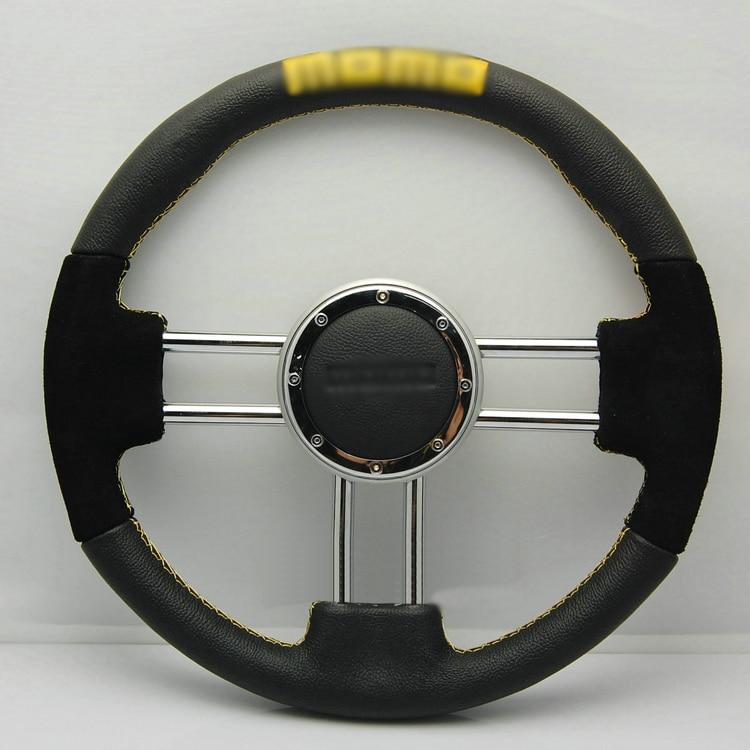 Ipoboo Новый Универсальный подходит гоночный Спорт 13063/340мм замша + искусственная кожа глубокое блюдо сплава руль