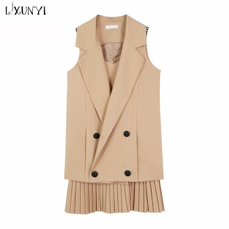 2019 Spring Summer Women Pleated Dress Vest Suit Two Piece Set Outfits Female Formal Double Breasted Sleeveless Plus Size 4XL in Women 39 s Sets from Women 39 s Clothing
