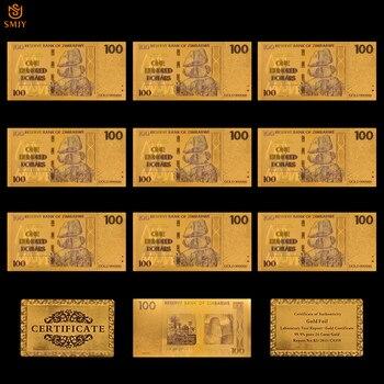 10 unids/lote billete de oro de 100 dólares de Zimbabue chapado en oro de 24k con oro 999 Metal oro puro para colección