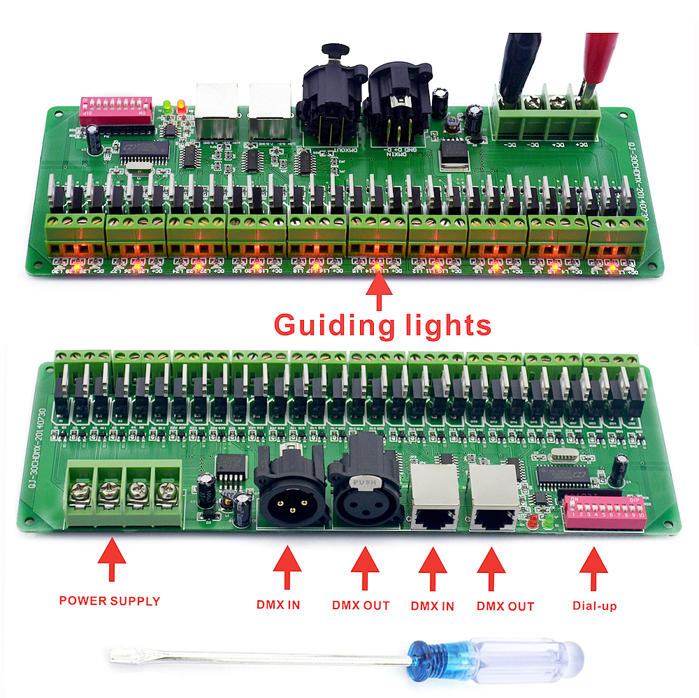 DMX décodeur 30 canaux RGB LED bande lumières pilote DMX 512 pas de contrôleur de boîte en plastique cc 9 V-24 V DMX512 gradateur