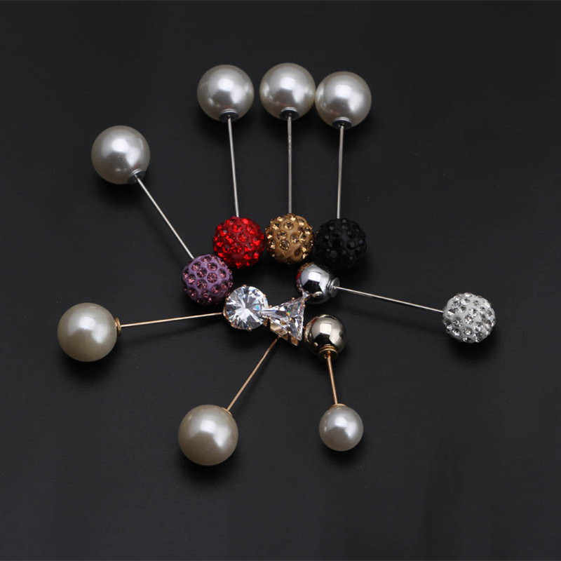Winter New Lady Imitation Pearl Brooch Sparkling Crystal Rhinestones Ball Classic Charm Brooches All-match Jewelry Accessories