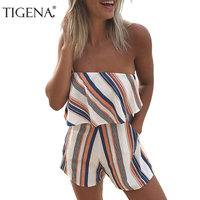 Refeeldeer 2017 Summer Sexy Strapless Playsuit Women Striped Bodysuit Female Shorts Jumpsuit Short Rompers Body Women