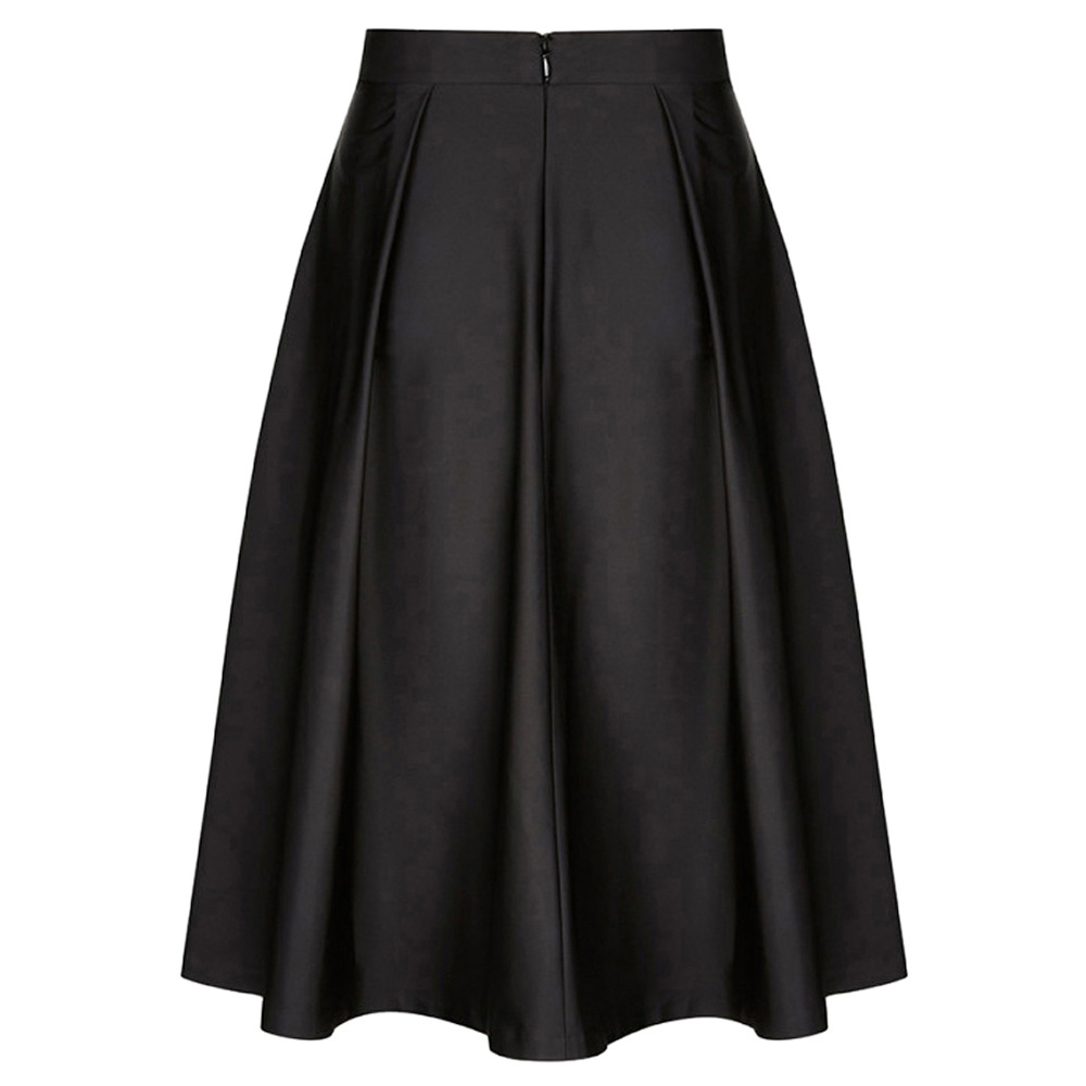 plus size women skirt 2018 black blue Vintage Cotton Pleated Flared A-Line casual vintage Skirt