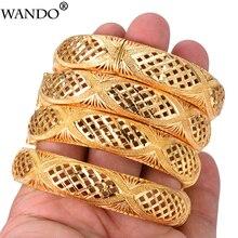 WANDO 4pcs African Ethiopian Jewelry Flower Gold Color Dubai Bracelet Bangles For Women Thread Bracelet Christmas wedding Gift