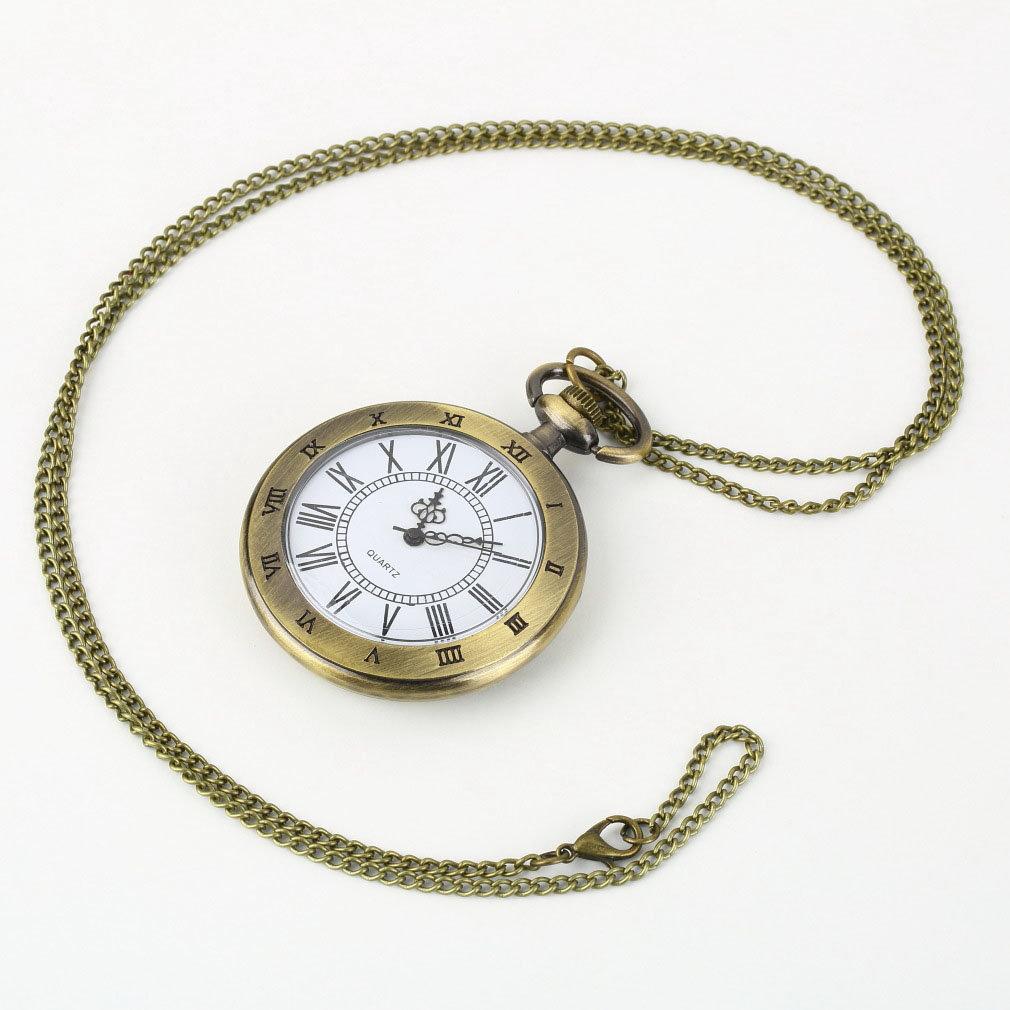 Vintage Bronze Pocket Watch Roman Antique Numerals Chain Necklace Pendant Quartz Watch