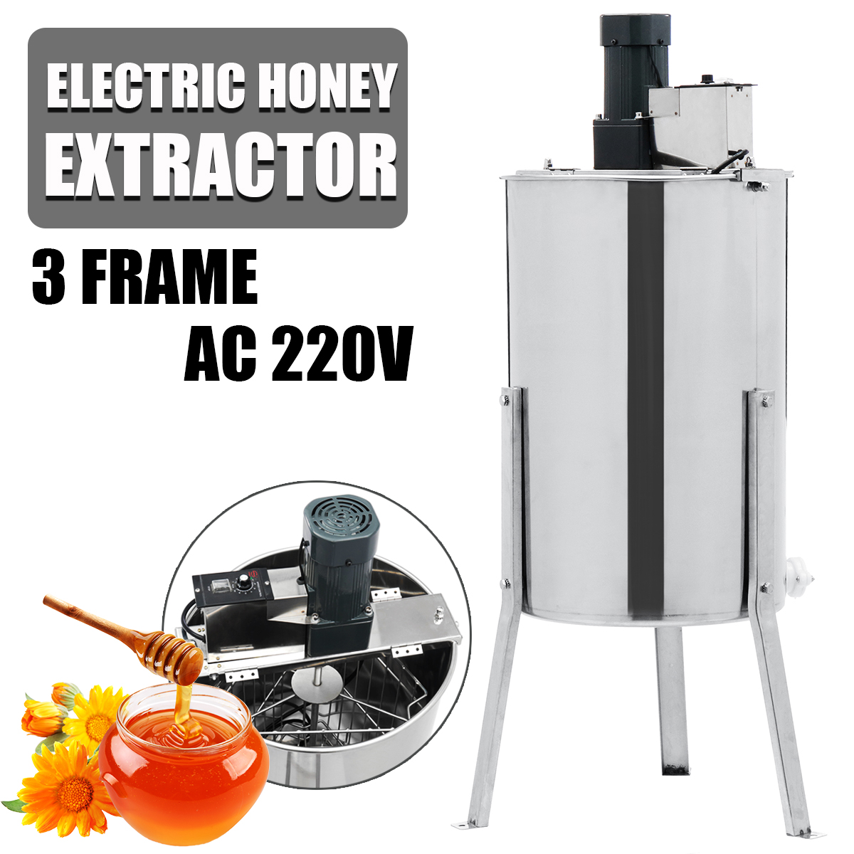 3 Frame Electric Honey Extractor Stainless Steel Beekeeping Machine Tool Box Honey Extractor Supplies Beekeeping Equipment3 Frame Electric Honey Extractor Stainless Steel Beekeeping Machine Tool Box Honey Extractor Supplies Beekeeping Equipment