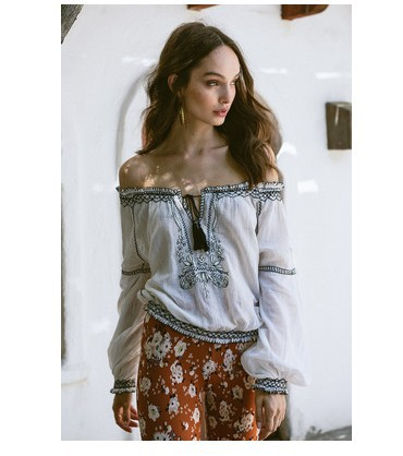 Canwedance New Holiday Embroidery Lace Doll Style Shirts Women Boho Blouses Slash Neck Lantern Sleeve Cute Top Shirts Casual Top Women's Clothing