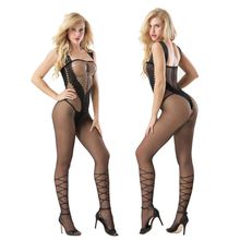 transparent Lace Camisole overlapping stripe printing Hollow out body sexy costumes catsuit bodystocking open crotch lingerie