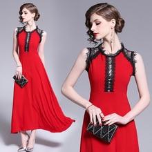 PADEGAO 2019 Summer Ladies Vintage Long Evening Party Dresses Women Fashion Sleeveless Lace Maxi Dress Elegant Red Female