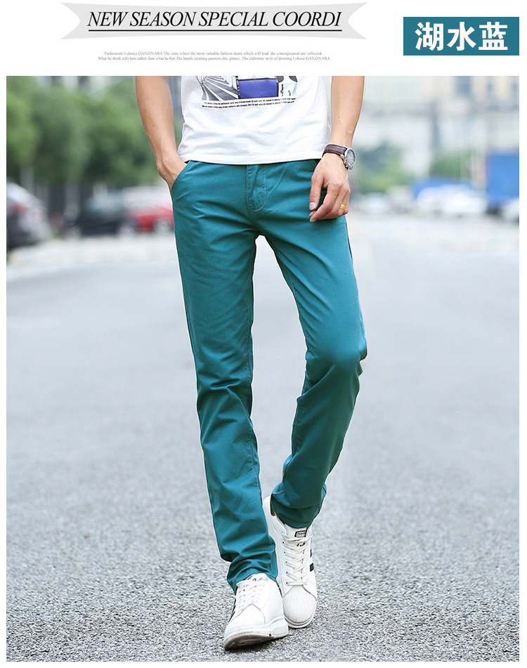 Business Casual Pants 11 Colors New Casual Pencil Pants Men Slim Pant Straight Trousers Solid Leisure Zipper Spring Summer k919 43