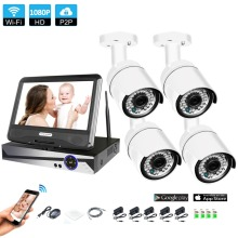 Wireless Surveillance System Network 10.1″ LCD Monitor NVR Recorder Wifi Kit 4CH 1080P HD Video Inputs Security Camera
