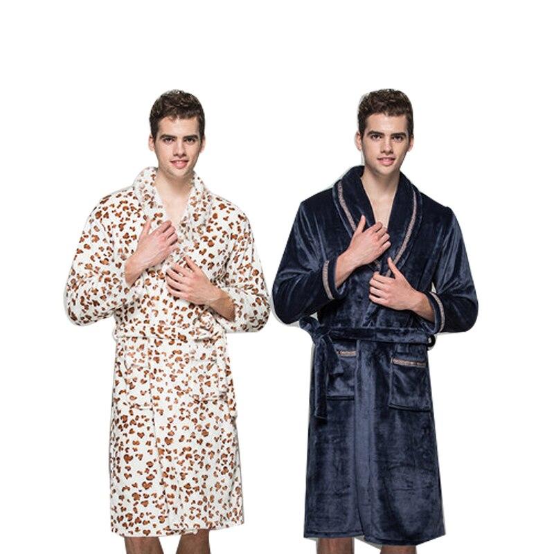 centuryestar winter autumn bathrobe men flannel long robe de chambre homme mens night bath robes