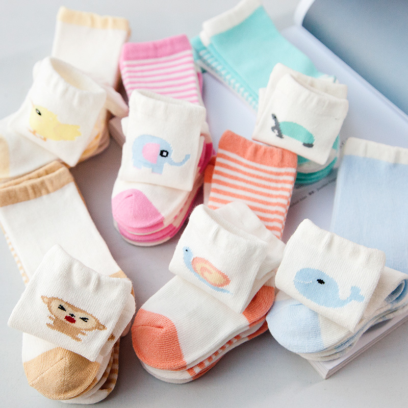 8pcs = 4pairs Baby Socks Infant Cotton Socks Baby Girls Boys Anti-slip Socks Toddler Newborns Short Socks Meias Infantil Sokken