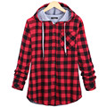 Plus Size Women Buffalo Plaid Coat Green Blue Plaid Open Stitch Cardigan With Hat Winter Warm Coat