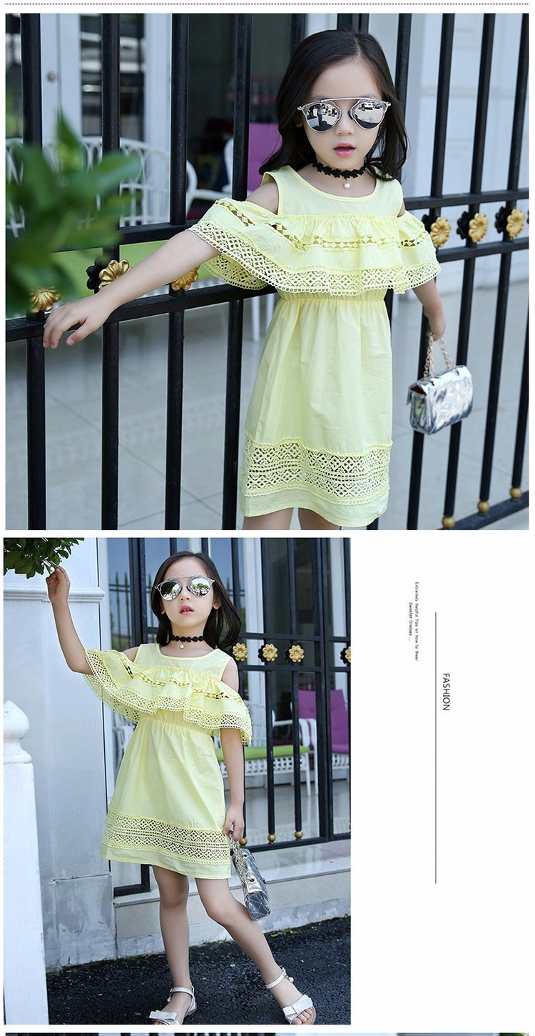 Kids Girls' Dress with Lace Summer 2018 New Kids Clothes for Girls Clothes Cotton Off Shoulder Dress White Pink Yellow Vestido 14