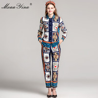 MoaaYina Fashion Runway Designs Set Autumn Women S Long Sleeve Playing Cards Printed Blouse And Vintage