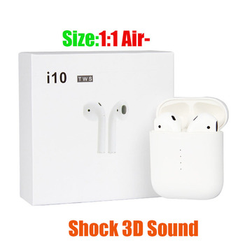 i10 TWS Double Mini Bluetooth 5.0 Touch Earphones Earbuds Wireless Charging 1:1 Air pods for Apple iPhone not airpods