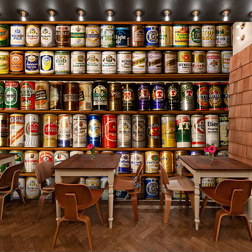 Custom 3d mural Retro cans Shelf mural KTV cafe leisure bar hotel lounge wine cellar bookstore background colour wallpaper mural smad 28 bottle wine chiller cellar bar