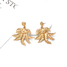 ZA New Arrive Statement Metal Big Earrings Leaf Shaped Dangle Drop Fashion Trend Jewelry Bijoux For Women Girls Gift