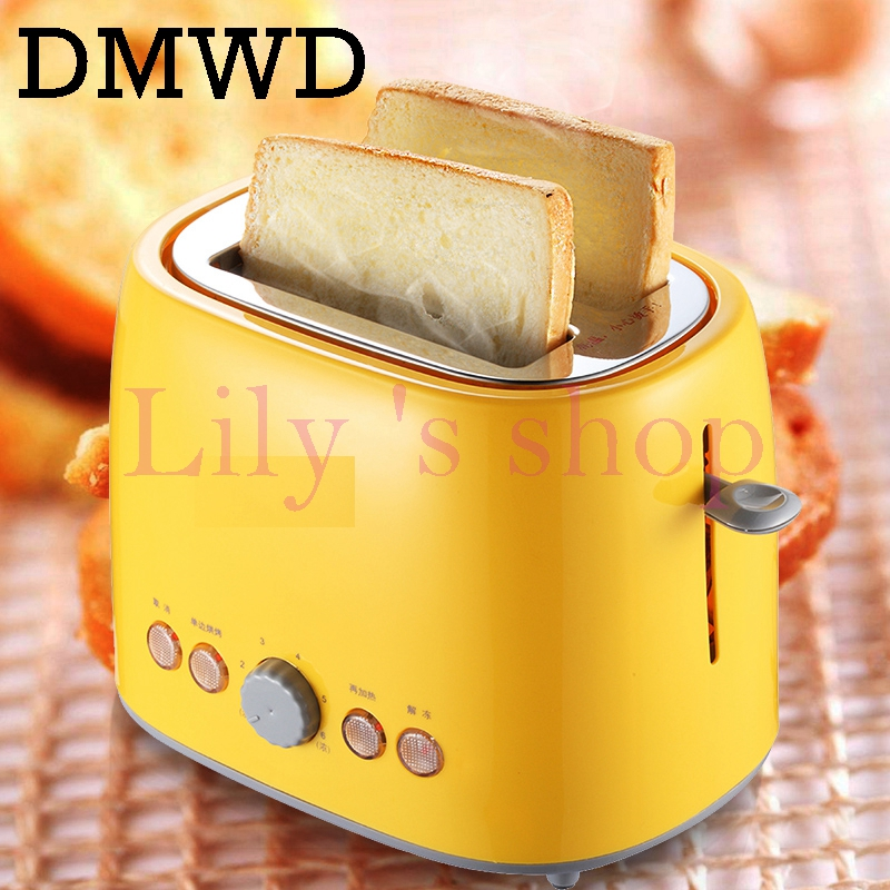 Household toaster with 2 slices slot automatic warm multifunctional breakfast bread baking machine 680W toast maker EU US plug dmwd mini household bread maker electrical toaster cake cooker 2 slices pieces automatic breakfast toasting baking machine eu us