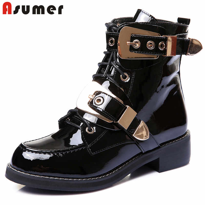 17f09e772ec9 ASUMER 2018 New patent genuine leather boots sqaure heels lace up buckle  punk women motorcycle boots
