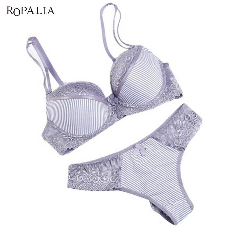 *ROPALIA Fashion Lady Bra Brief Sets Lace Push Up Bra Set Women Underwear Girl Sexy lingerie*