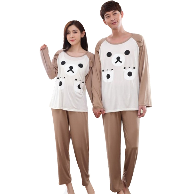 Female Girls Autumn Spring Pyjama Sets Women O-Neck Pajama Sets Couple Cartoon Pyjama Sets Ladies Long Sleeves Home Sleepwear