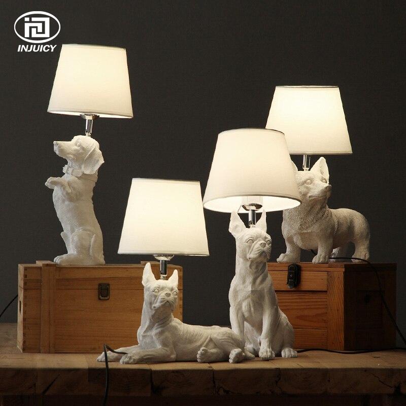 LOFT Vintage Résine Pet Chien Table Lumières Rétro Lapin Art Chambre Étude de Lampe de Chevet De Chambre Enfants Décor Lampe de Bureau