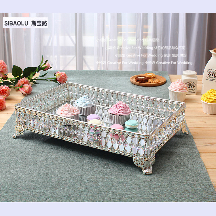 16 Rectangle cake tray with mirror and clear crystals Fruit plate Snack tray dessert plate Banquet