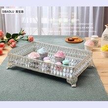 """16 """"Rechteck tablett mit spiegel und kristallen obstteller snack-fach dessertteller Bankett liefert kuchen werkzeuge"""