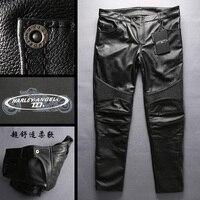 Натуральная коровья кожа мотоцикл брюки для верховой езды