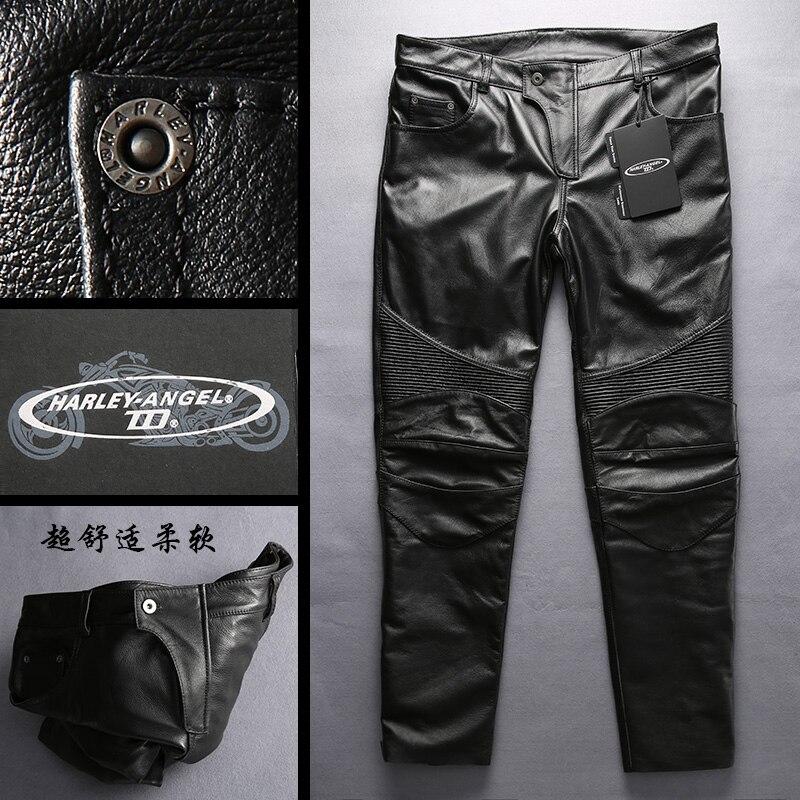 Cow genuine couro da motocicleta calças cavaleiro