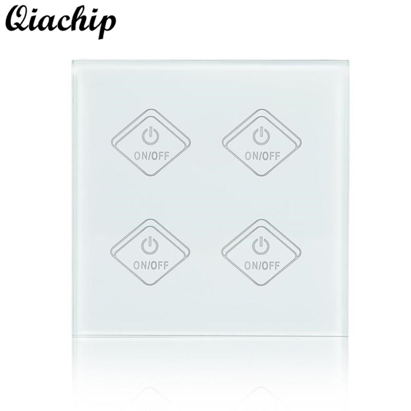 QIACHIP UK Plug AC 220V WiFi Smart Home 4 Gang Light Wall Switch APP Remote Control Work With Amazon Alexa Timing Touch Switch 2017 smart home crystal glass panel wall switch wireless remote light switch us 1 gang wall light touch switch with controller