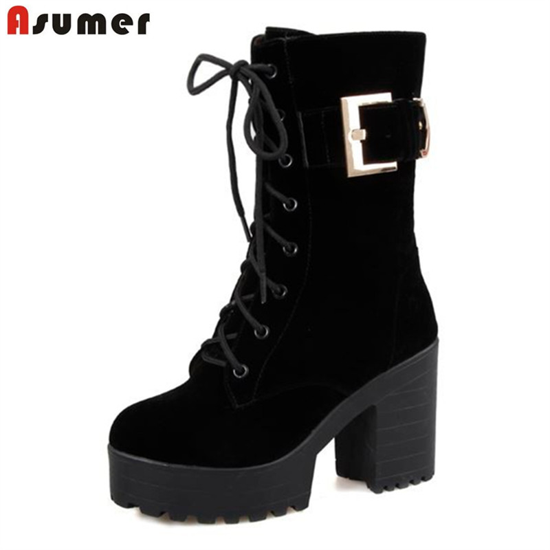 Asumer large size 33-43 winter women boots thick high heels round toe platform shoes solid buckle nubuck leather mid calf boots lady big size 4 15 tassel nubuck leather velvet women boots round toe mid calf winter boot thick high heel boots 3colors