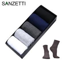 SANZETTI 5 pair/lot Business Men socks harajuku calcetines hombre plain classic sock men breathable solid cotton socks NO BOX