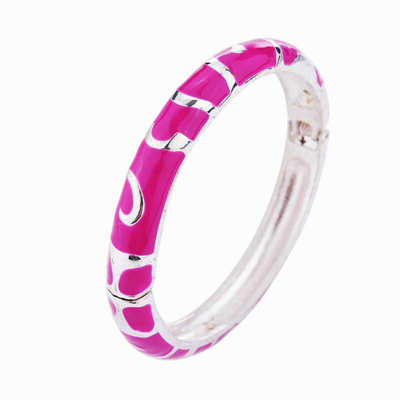Simple Enamel Bangles Bracelet Women Fashion Jewelry Fushia Bracelets & Bangles Female Gift Wholesale