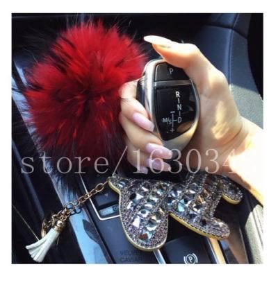 Bling Del Encanto Del Monedero Lindo Mujeres Accesorios Del Coche Auto Car Keys anillo Pompones de Piel de Zorro Rhinestone Piedras Bling Del Cabo de Cuero de Caballo encanto