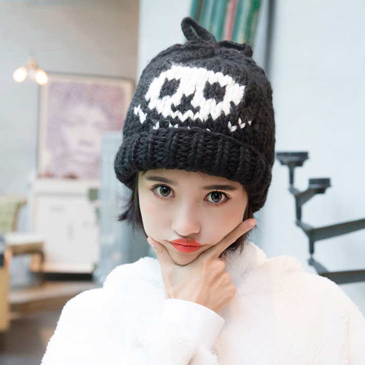 Tanworders Women Cartoon Knitted Hat Warm Autumn Winter Hats For Girls Female Skullies Beanies Sombrero Invierno Mujer toyouth skullies beanies 2017 autumn women letters jacquard warm thicken knitted hat female
