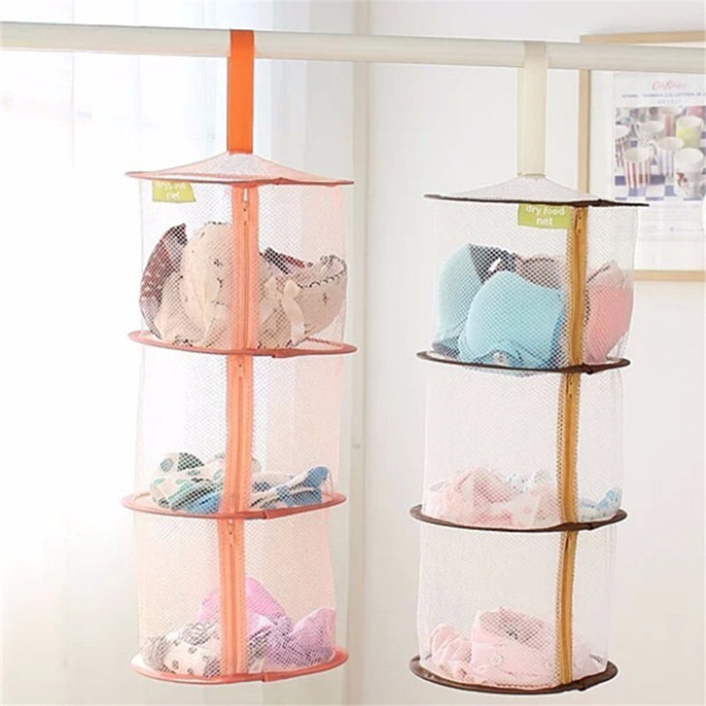 Home storage 3 layers folding laundry basket for dirty clothes hanging mesh storage basket for toys windproof clothes hamper in hanging organizers from home